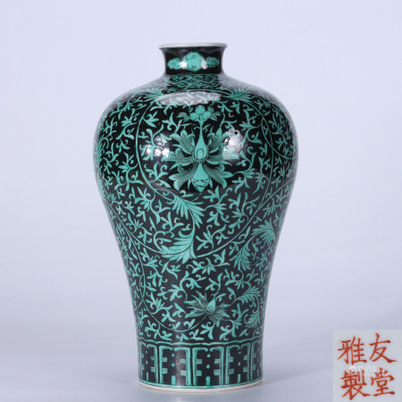 Qing youtang elegantly made wide black ground green color wrapped lotus plum vase