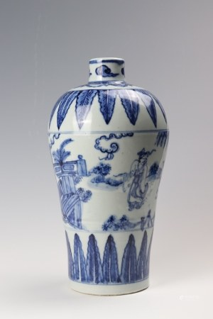 A blue and white meiping vase painted with figures 青花人物故事纹梅瓶