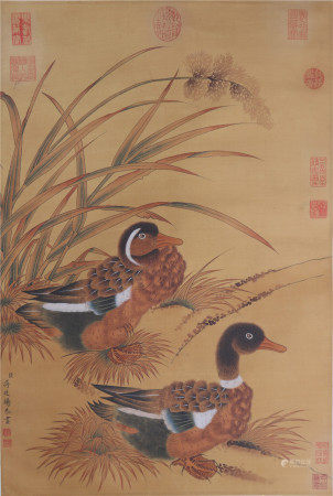 A Chinese painting with Mandarin ducks  中国书画 鸳鸯