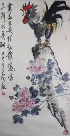 A Chinese painting with chicken 中国书画 雄鸡图