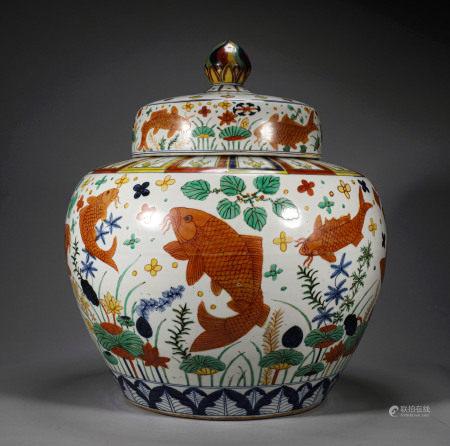 A CHINESE VINTAGE PORCELAIN LIDDED JAR