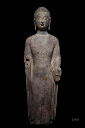 A CHINESE VINTAGE BUDDHA STONE STATUE