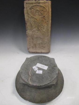 A Chinese grey stone basket and cover, perhaps archaic, 15cm high and a grey pottery brick, Han