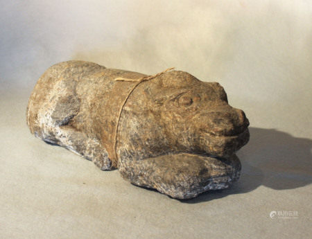 A Chinese grey stone recumbent water buffalo, in Han Dynasty style, 12cm x 31cm