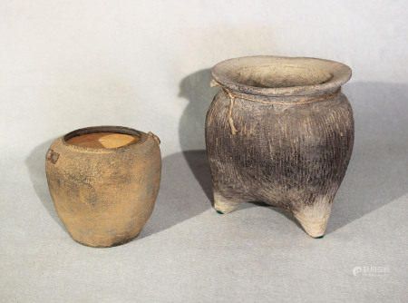 Two Chinese vases, comprising a three legged pot with impressed string lines, Neolithic, 16cm