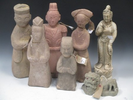 A group of eight Chinese carved stone items, 19/20th century, including figures, an animal, and a