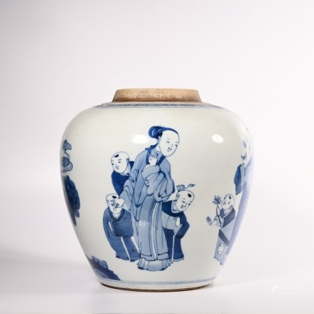 Qing Dynasty blue and white character jar