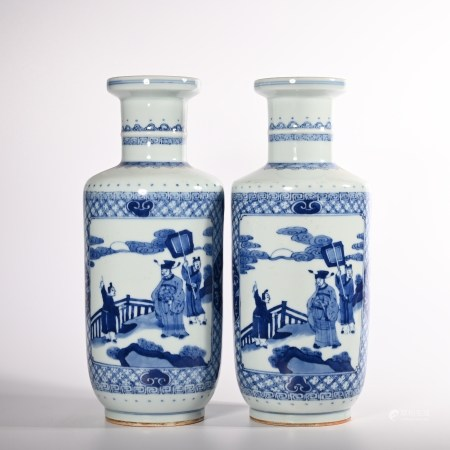 A pair of blue and white characters in Qing Dynasty