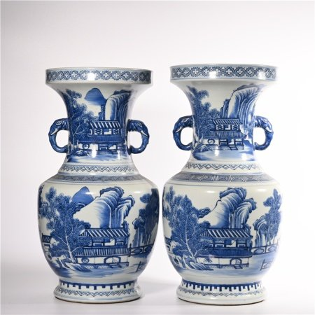 A pair of blue and white elephant ear bottles in Qing Dynasty