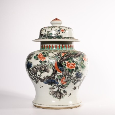 Qing Dynasty Kangxi powder color flower and bird pattern jar
