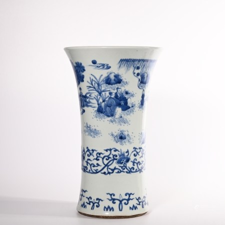 Qing Dynasty blue and white characters story bottle