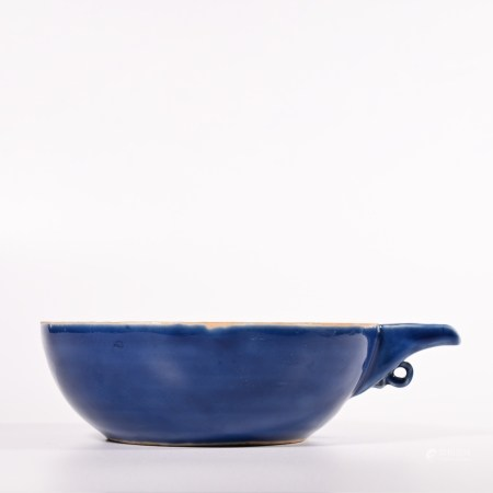 Blue glazed small plate of Yuan Dynasty