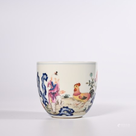 Qing Dynasty Qianlong pastel chicken bowl cup