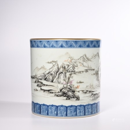 Qing Dynasty Qianlong pastel brush holder with landscape pattern