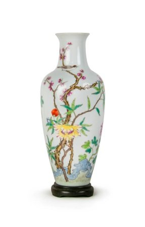 A CHINESE FAMILLE ROSE NOBLE VASE