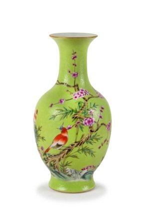 A CHINESE GREEN SGRAFFITO VASE
