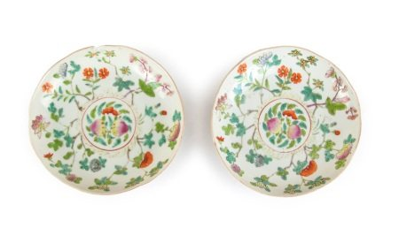 PAIR OF CHINESE FAMILLE ROSE PEACH PATTERN DISHES