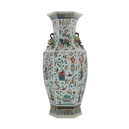 A CHINESE FAMILLE ROSE HEXAGON VASE