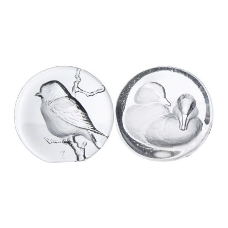 PAIR OF CRYSTAL BIRD PAPER WEIGHTS
