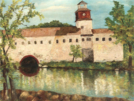 OIL PAINTING OF CASTLE ON BOARD SIGNED