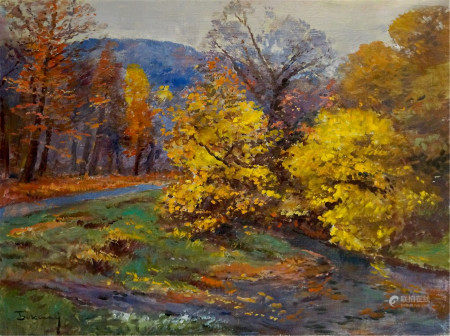 BOKSHAY JOSEPH IOSIFOVICH Oil painting Forest autumn landscape