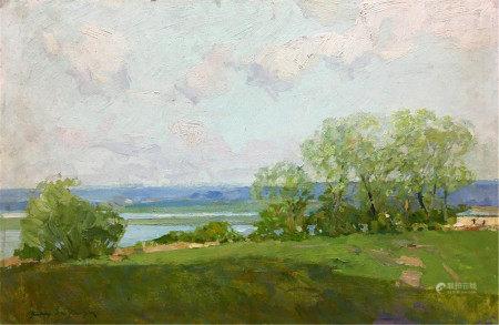 ZAKHAROV FEDOR ZAKHAROVICH Oil painting River flows