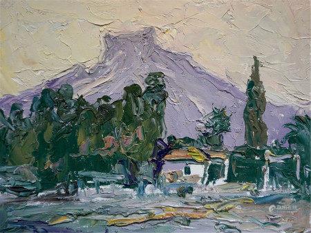 KHOLOMENYUK IVAN ALEXANDROVICH Oil painting Road to the mountains