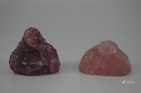 TWO CHINESE PINK ROCK CRYSTAL SEATED BUDDHA
