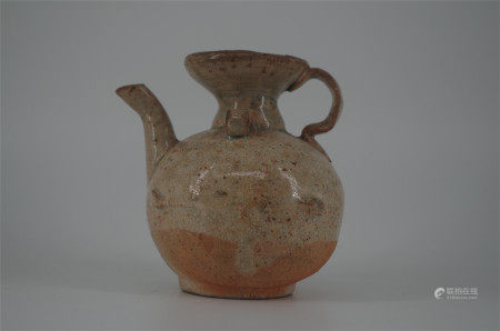 CHINESE PORCELAIN BROWN GLAZE KETTLE