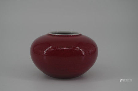 CHINESE PORCELAIN RED GLAZE WATER POT