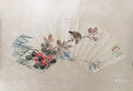Chinese Ink Color Fan Painting w Calligraphy
