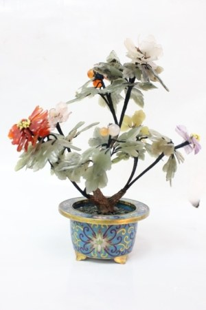 Chinese Jade Planter w Cloisonne