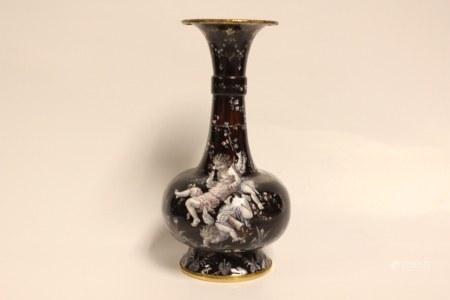 Fine limoges Enamel on Copper Vase
