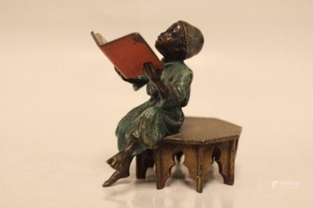 Vienna Bronze Polychrome Boy in Reading