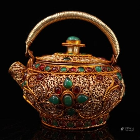 Chinese Gilt Silver Teapot Inlaid Gems