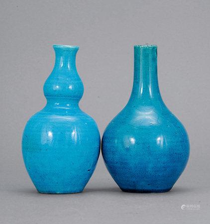 清中期 孔雀綠釉瓶 二件