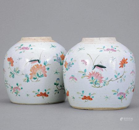 清 粉彩花卉草蟲紋罐 一對