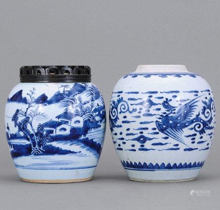清中期 青花山水、雲鳳紋罐 二件