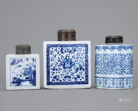 清中期 青花山水、蓮紋茶罐 一組三件