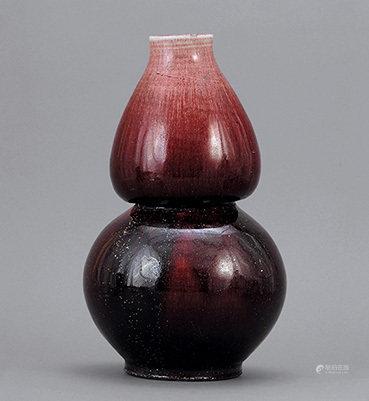 清 紅釉葫蘆尊