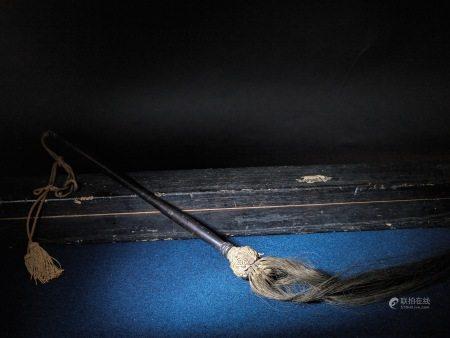 唐物 黑漆拂塵 A Chinese Wood Fly Whisk