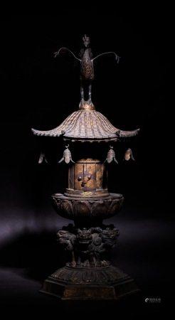 古銅鎏金  舍利塔。 A Gilt Bronze  Stupa