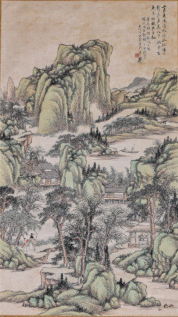 A Chinese Painting  顧頤 東風溪水綠幽林