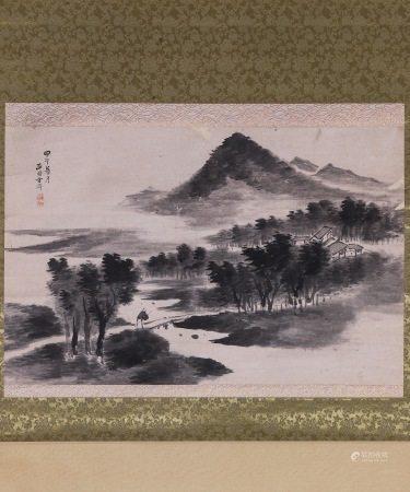 清時代 西園 方濟  行旅圖 A Chinese Painting