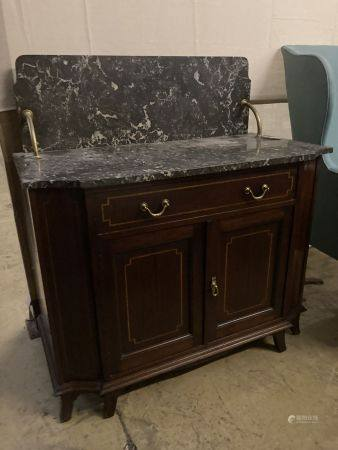 An Edwardian satinwood banded mahogany marble top washstand, width 99cm, depth 52cm, height 106cm
