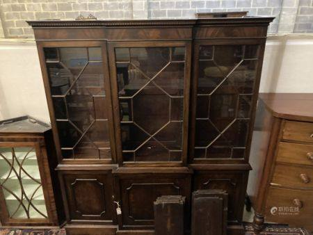 A reproduction George III-style mahogany breakfront library bookcase, width 172cm, depth 40cm,