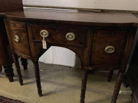 A Regency ebony inlaid mahogany bow front sideboard, width 122cm, depth 57cm, height 89cm