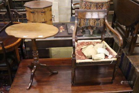 A Regency mahogany carver and a tripod table, width 60cm, 68cm high