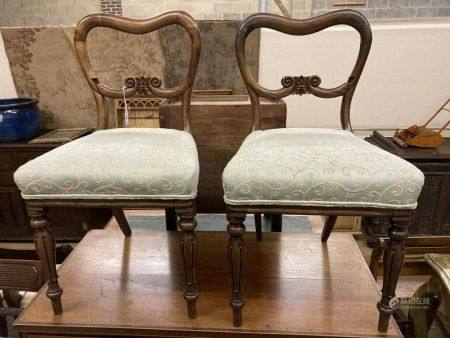 A pair of early Victorian rosewood dining chairs (a.f.)