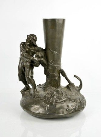A Chinese pewter vase modelled in the form of fisherman, 37cm high.